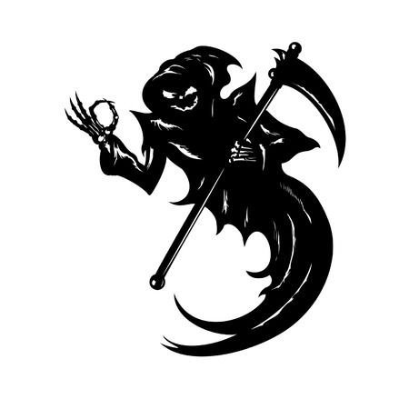 reaping: Illustration Funny Grim Reaper with \OK\ gesture.