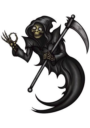 """Illustratie Grappige Grim Reaper met """"OK"""" gebaar."""