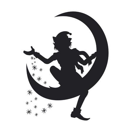 Ilustração Christmas Elf silhouette. Ele está sentado em uma meia lua e espalhando flocos de neve ao redor. Disponível em formato EPS de vetor. Foto de archivo - 34263009