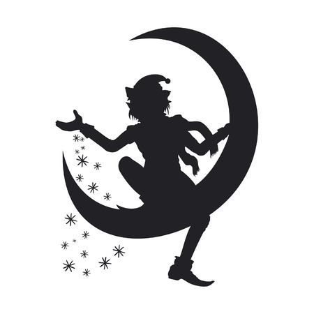 Illustration Christmas Elf silhouette. He is sitting on a half moon and scattering snowflakes around. Available in vector EPS format.