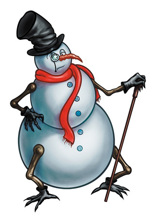 chimney pot: Illustration alive Snowman with a cane, dressed in a top hat, a scarf and gloves