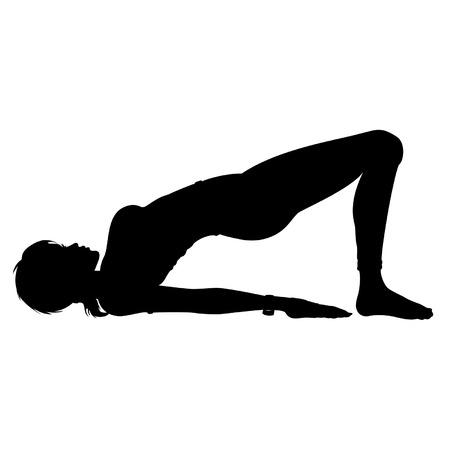 woman posture: Woman doing yoga exercise the bridge pose.