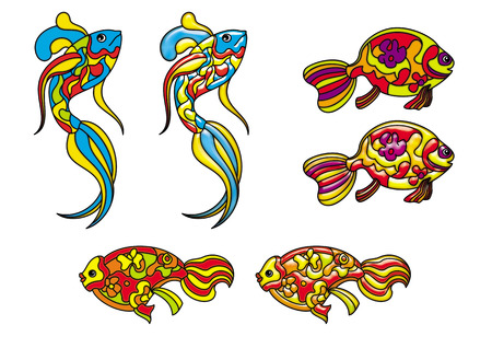 vitrage: Set of the 3 fishes in two different styles