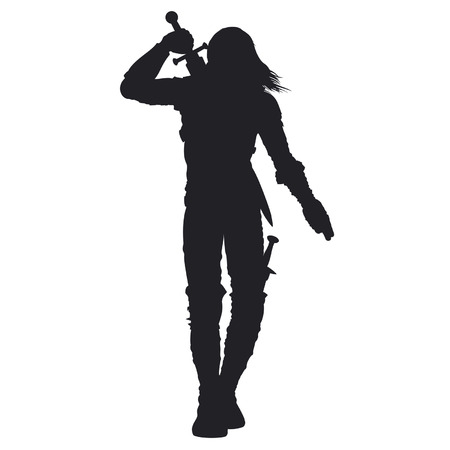 Stylized silhouette of walking warrior in fantasy armor. Man is pulling out the sword on his back Available in vector EPS format. 일러스트