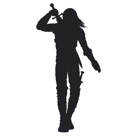 Silueta estilizada de guerrero andante en armadura de fantasía. El hombre está sacando la espada en la espalda Disponible en formato vectorial EPS.