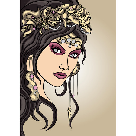 bijou: Girls face stylized in art nouveau