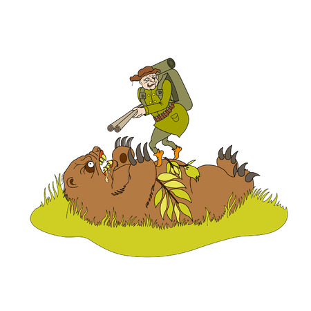satire: Bear and a hunter. A bear lays in ambush for a hunter. The Hunter with a rifle climbed up on the  scary bear. Available in vector EPS format.