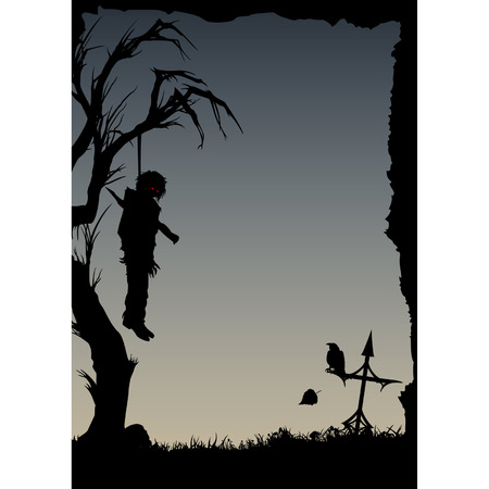 execution: Vampire resurrection. Frame with silhouette of a vampire, hanging on a lone bent tree, pierced by a spike, with a raven on the cross. The vampire comes to life and opens his eyes. A Halloween card or a flyer with a copy space.