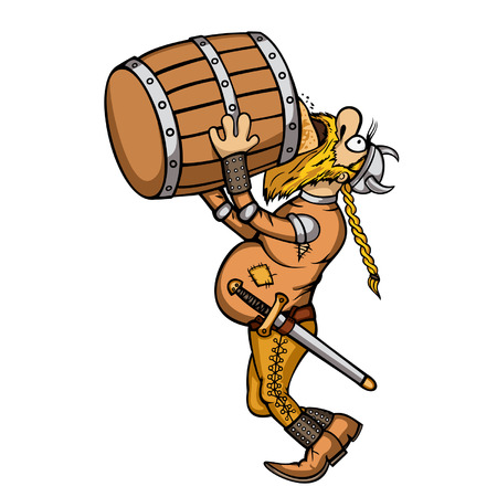 Illustration a cartoon viking. He is drinking a beer from a barrel. Available in vector EPS format.