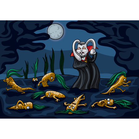 Illustration a rabbit vampire. He raids on carrot beds under the moon. The Carrots are running away in a panic. Available in vector EPS format. Illustration