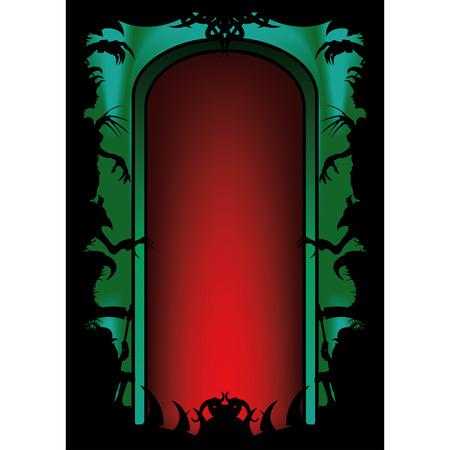 コピーのグリーティング カードやパーティーのフライヤー、ポスターなどの領域でハロウィンの背景。手、怪物の顔、怖いの他の図形の不吉なシル