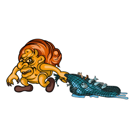 Illustration a horrid troll with fish in nets.  Available in vector EPS format. Vector