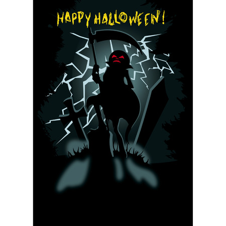 siluette: Halloween poster with siluette Pumpkin Head Jack with the scythe on the dark cemetary with lightning on the   background. Handmade text is my own design. Illustration