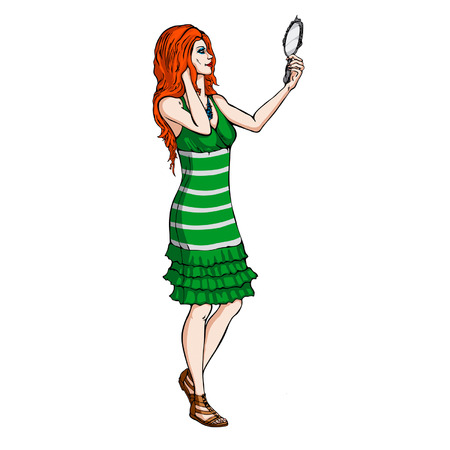 red haired girl: Illustration a girl with a mirror in her hand
