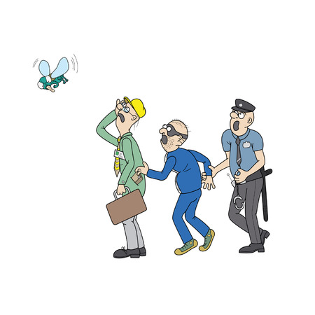 office theft: Policeman is catching a jostler. Jostler is robbing office worker, who is suffers ridicule from a big fly. All people are staring at the big fly.