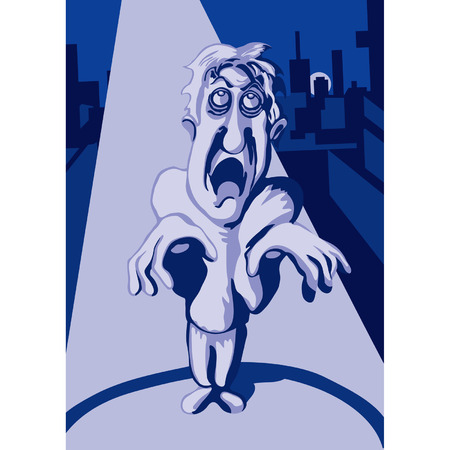 groaning: Cartoon groaning zombie walking in the night city