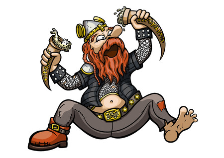 Illustration a cartoon viking. He wears a horned helmet. He puts off the horns and drinks from them. Stock Photo