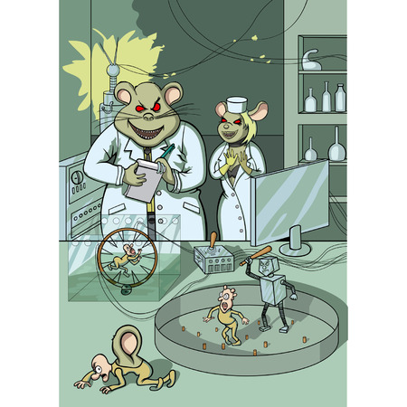 sneer: Illustratoin two mice-scientists. They do experiments on humans Illustration