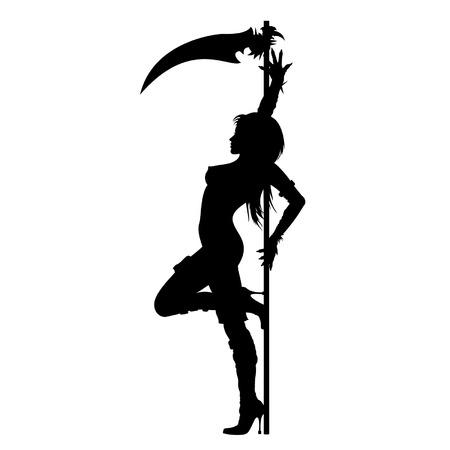 Abstracte illustratie van een vrouw silhouet. Ze danst STREPTEASE buurt van de zeis, gekleed in Halloween kostuum