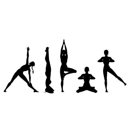 Illustration woman in the different yoga positions. Silhouettes. Vettoriali