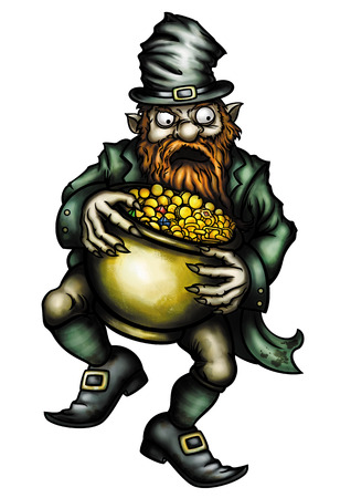 Illustration angry Leprechaun with a pot of gold Stock Photo