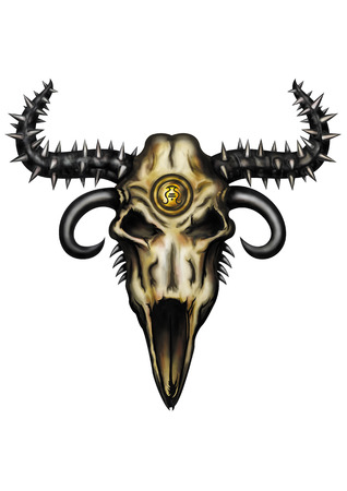 spiked: Emblematic Illustration a fantasy animal skull with spiked horns