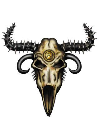 �spiked: Ilustraci�n Emblem�tico un cr�neo animal de la fantas�a con los cuernos de pinchos