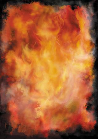 Illustratie kleur grunge achtergrond met abstracte vuur en rook Stockfoto