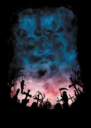 Ilustração horror fundo com silhuetas ou cemitério, cruzes, árvores, estátua, e um vampiro enforcado. Céu escuro sombrio com caras de monstros em nuvens no fundo.