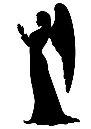 angel wing: Praying figure of a female Angel like a statue.