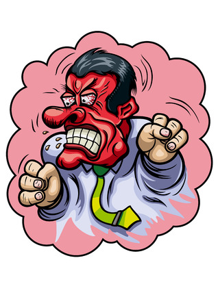 fury: Illustration a fury businessman with red angry face and big fists