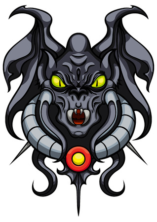 Illustration stylized mystical monstergargoyle with wings fangs and spikes Stock Photo