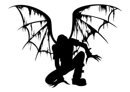 Silhouet van de gevallen engel met verbrande vleugels Stockfoto