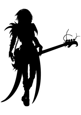 electro: Abstract illustration of a woman silhouette dressed in extremal costume with a bass electro guitar. Stock Photo