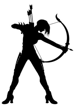 sagitario: Ilustración de una mujer arquero fantasía con un arco y flechas o un símbolo del horóscopo de Sagitario.