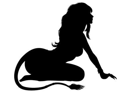 esfinge: Ilustración de una mujer de la fantasía en un traje del león o un símbolo del horóscopo de Leo. Foto de archivo