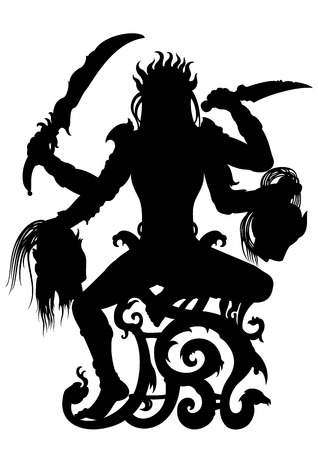 four hands: Illustration a woman with four hands holding weapons and demon39s heads. She is sitting on a fantasy throne.