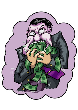 Illustration a greedy businessman with violet face. He is eating money.