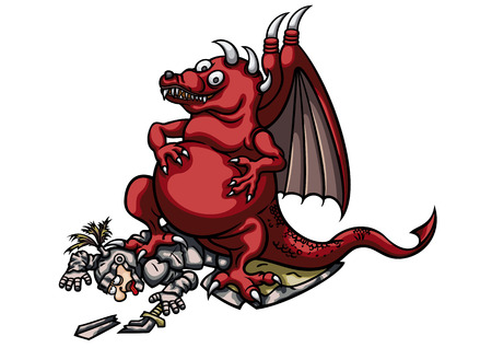 triumphant: Illustration a cartoon triumphant dragon. He is standing on the fallen knight. Stock Photo