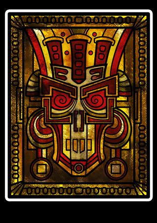 Cara fantasía decorativa del dios o un monstruo como un maya o estilo azteca Foto de archivo - 42209731
