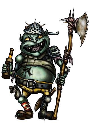 Illustratie van een eng goblin bewaker gekleed in trash-apparatuur, met een bijl, met een fles bier Stockfoto