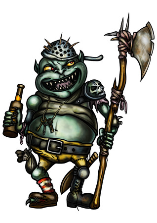 Illustration a scary goblin warder dressed in trash equipment, with an axe, holding a bottle of beer Stock Photo