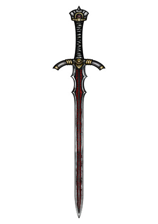 Illustration a fantasy sword with a blade, decorated with magic symbols Stock Photo