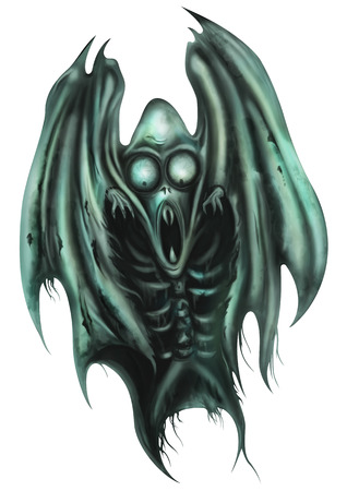 horror: Illustration a ghost monster. He wears a shroud looks like a bats wings
