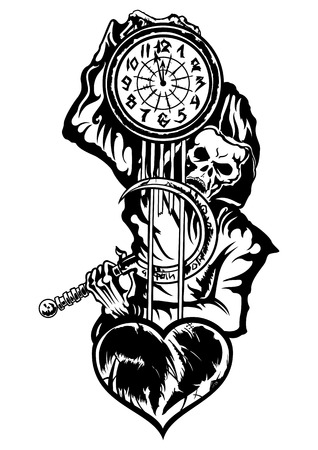 Illustration black & white emblem of the skeleton in the hood. He holds a clock  with a damaged heart, and a reaping hook Stock Photo