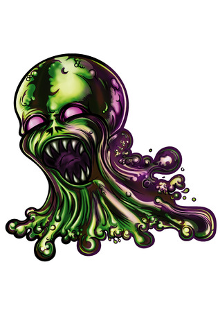 slime: Illustration a mucus creature. He spills slime blobs