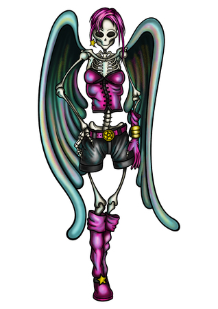 swanky: Illustration cute skeleton woman in fashion clothes with angel wings Stock Photo