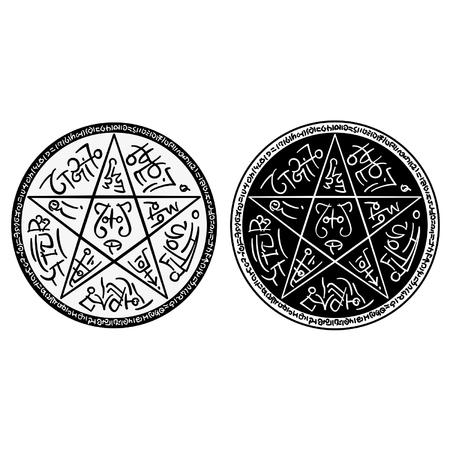 Illustratie van een fantasy pentagram met magische symbolen in twee zwarte en witte varianten