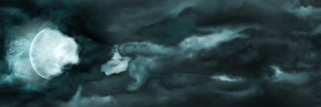 Illustratie sinister storm nachtelijke hemel met de maan en de wolken
