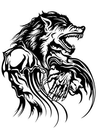 Illustratie van een brullende weerwolf gekleed in ouderwetse kleding